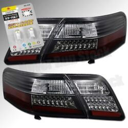 For 07-09 Toyota Camry Oe Black Red Led Tail Lights +white License Plate Bulbs