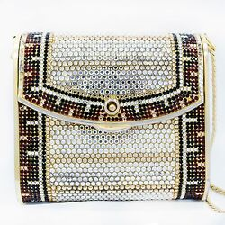 Vintage Judith Leiber Red Black & White Crystal Design Gold Tone Clutch Bag