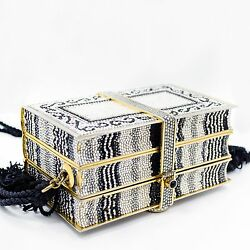 Vintage Judith Leiber Black & White Crystal Design Gold Tone Clutch Bag  $2,495.00