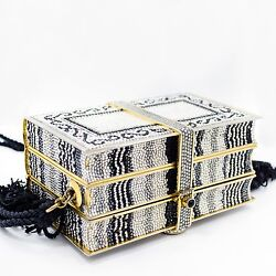 Vintage Judith Leiber Black & White Crystal Design Gold Tone Clutch Bag