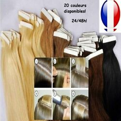 Extension Tape Bande Adhesive Cheveux 100 Naturels Indian Remy Hair 49 60 Cm
