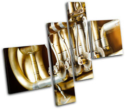 Vintage French Horn Musical Brass Instruments Canvas Art Picture Print Photo