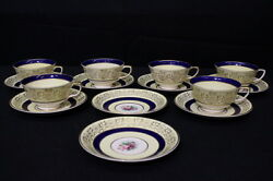 14pc Vintage Johnson Brothers Yellow, Cobalt Band Floral Pareek Cup And Saucer Set