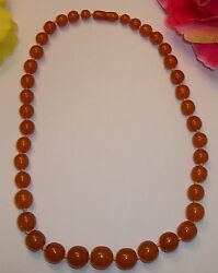Vintage Amber Bead Strand Necklace Butterscotch 52 Grams Graduated Beads
