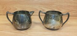 Vintage Silver On Copper Creamer And Sugar Containers F.b. Rogers Taunton Mass