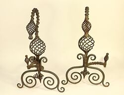 Antique Roycroft Style Twisted Spiral Wrought Iron Fireplace Andirons