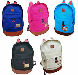 Light Weight Canvas CAT Ears Laptops Backpacks School Bag Size:Large $19.99