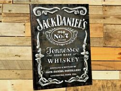 Jack Daniels Old No. 7 Label Metal Wall Art - Sign - Bar - Tennessee Whiskey
