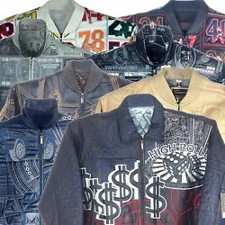 Collectable Stitched/embroidered Men's Leather Jacket Assorted Styles, Color, L