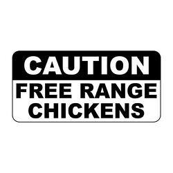 Caution Free Range Chickens Retro Vintage Style Metal Sign - 8 In X 12 In