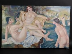 The Large Bathers Arcyllic On Canvas Nude Women Painting Renoir Copy 45
