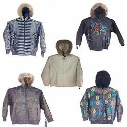 Collectible Stitched/embroidered Menand039s Leather Jacket With Hoodie
