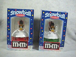 Mandm Snowball Christmas Ornament And Candy Dish, Pair, Lot Two Of Them
