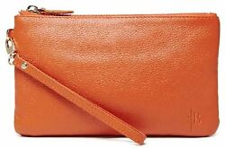 Mighty Purse Tangerine Genuine Leather 4000mAh Built-in Phone Charger By HButler