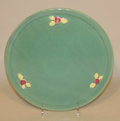 Coors Rosebud Usa Art Pottery Green 11 Inch Round Cake Plate Tray Platter