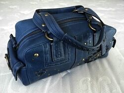 COACH LIMITED EDITION INDIGO MIA STUDDED LACE LEATHER TOTE BAG PURSE SATCHEL