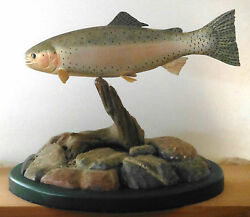 Beautiful Hand Carved Fish - Full Mount Rainbow Trout By Harold Walker