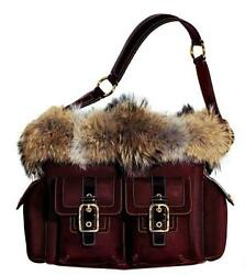 COACH Ltd Ed WINE BURGUNDY RED COYOTE POCKET FUR SUEDE LEATHER TRIM LG TOTE BAG
