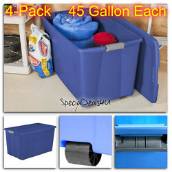 4pc Plastic Storage Containers Large Box 45gal Stacking Case Blue Bin Boxes New