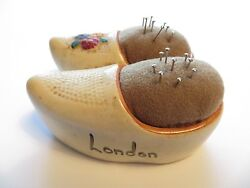 Vintage Handpainted Lt Brown Suede Cushion-shoe Pincushion-and039londonand039