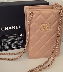 Authentic New CHANEL Gold Metallic Caviar Leather iPhone Crossbody Case Bag