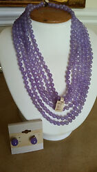 Artisan Crafted 6 Stranded Genuine Purple Jade Necklace 16 1/2 And Earring Set