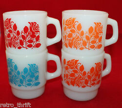 Set Of 4 Anchor Hocking Milk Glass Coffee Tea Cups White Rose Flowers As-is