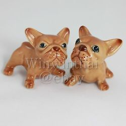 2 BROWN FRENCH BULLDOG Puppy Set Ceramic Pottery Animal Miniature Figurine #2