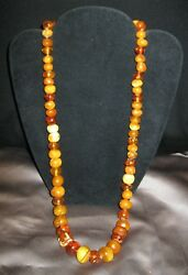 Vtg Variegated Rainbow Of Baltic Amber Colors Graduated 12-25mm Bead Necklace