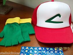 Pokemon Go Hat And Glove Set Ash Ketchum Trainer Costume - Made In Usa