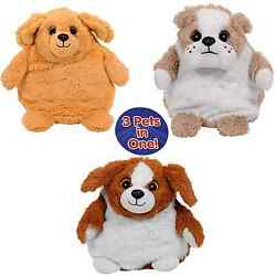 POP OUT PETS DOGS REVERSIBLE PLUSH TOY STUFFED BULLDOG-GOLDEN LABRADOR-BEAGLE