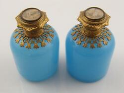 Pr French Opaline Glass And Gilded Purfume Bottles – Painted Scene Tops