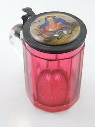 C.1870 Cranberry Glass And Hand Painted Porcelain Lid Tankard
