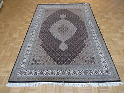 6and0399 X 10and0391 Hand Knotted Black Ivory Mahi Tabriz Persian Rug Wool And Silk G4006