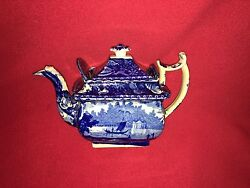 La4 Historical Staffordshire Wadsworth Tower Connecticut Teapot Wood 1825 Mint