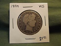 1899 Vg Silver Liberty Barber Half Dollar See Our Store For More 1899