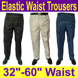 Mens Elasticated Waist Trousers 32-60 Waist. New Smart Elastic Rugby Trousers.