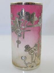 Antique Baccarat Ruby And Clear Glass Vase With Silver Inlay
