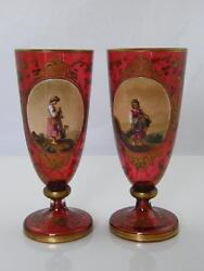 Pair Of Antique Bohemian Gilded And Hand Painted, Raised Porcelain Glass Goblets