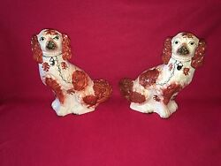 La5 Staffordshire Pair Of Large Spaniels Figures Circa 1870 Great Condition