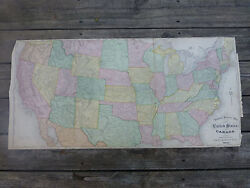 1875 Antique General Railway Map Of The United States And Canada Railroad Train