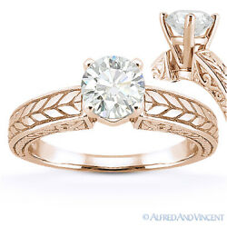 Forever Brilliant Round Cut Moissanite 14k Rose Gold Solitaire Engagement Ring