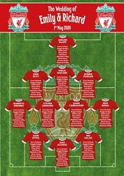 Football Rugby Team Wedding Table Plan Seating Chart Frame Canvas Print Any Team