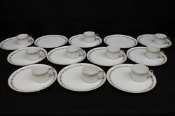 22 Pc Vintage Seyei Fine China Snack Plates And Cups W/gold Grapes, Leaves And Vines