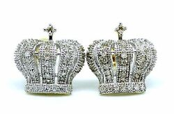 10k Yellow Gold Crown Round Diamonds Studs Pave Palm Earrings King Queen His Her
