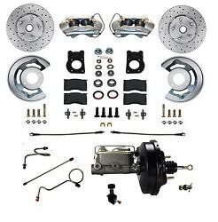 1971-73 Ford Mustang Cougar Disc Brake Conversion Kit Power - Cross Drilled Rtr