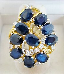 Big 20k Yellow Gold Ring With 10 Blue Sapphires And Diamonds 15.5g, Size 7.75