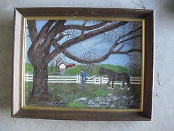 Vintage Gladys Simpson Painting Of Blind Horse Off To Pasture Framed