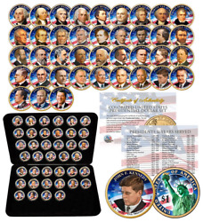 39 Coin Complete Set Presidential 1 Us Dollar Fully Colorized 2-sided With Box