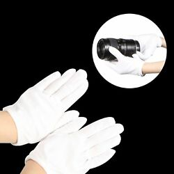 1 Pair White Cotton Inspection Lisle Gloves For Archives Jewelry Lens Antique
